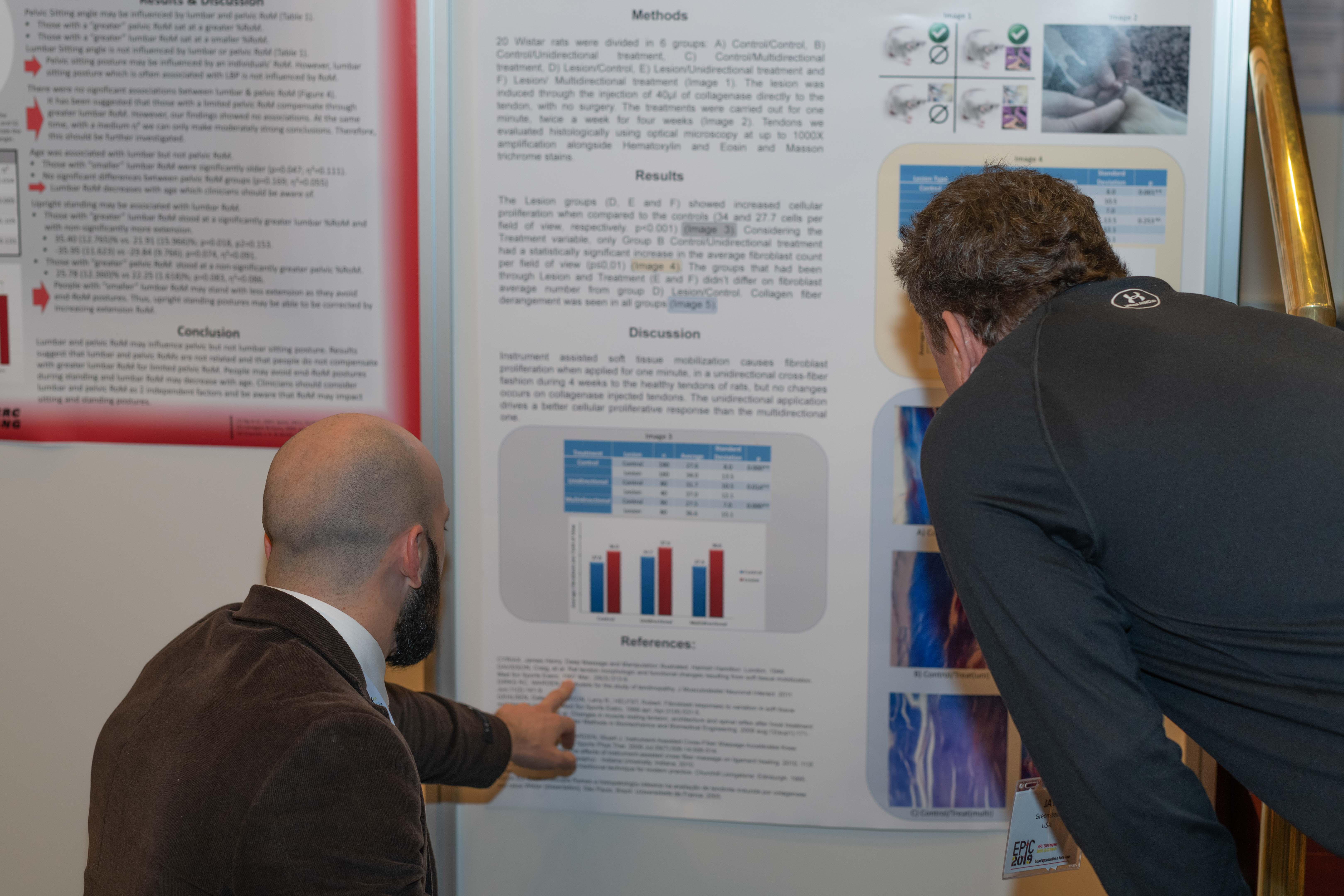 Delegates looking at a poster presentation at EPIC2019 in Berlin